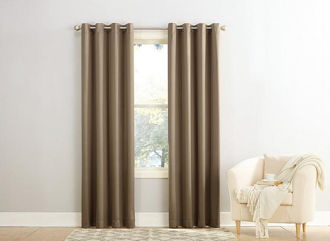 Màn cửa đẹp giá rẻ - Rèm vải cao cấp Sài gòn - Màn vải một màu nâu nhạt
